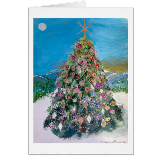 A Lone Christmas Tree Bursting with Ornaments Card