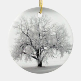 A lone Frostry Tree in the North Dakota Prairie Ceramic Ornament