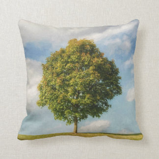 A Lone Tree Full of Life with a Blue Sky & Clouds Throw Pillow