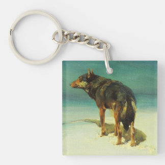 A Lone Wolf Samotny Wilk Double-Sided Square Acrylic Keychain