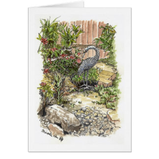 A lonely heron in a backyard card