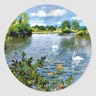 A Long Island Lake artwork Classic Round Sticker