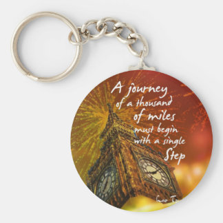 A long road starts with a single step basic round button keychain