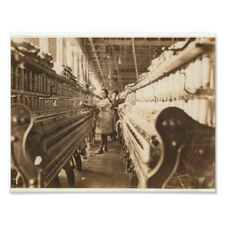 A look down the asile at a textile mill photo print