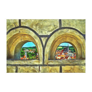 A look through the loopholes of the castle. canvas print