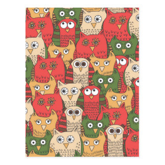 A lot of cute owls postcard