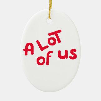 A lot of us ceramic oval ornament