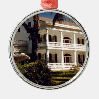 A Louisiana Plantation Silver-Colored Round Ornament