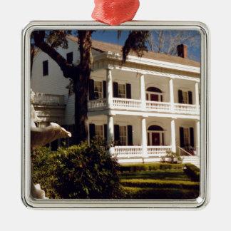 A Louisiana Plantation Silver-Colored Square Ornament
