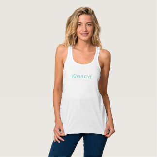 A LOVE/LOVE, white, and teal tank top