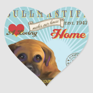 A Loving Bullmastiff Makes Our House Home Heart Sticker