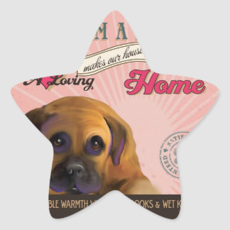 A Loving Bullmastiff Makes Our House Home Star Sticker