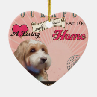 A Loving Cockapoo Makes Our House Home Ceramic Heart Ornament