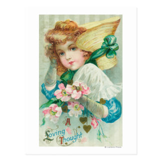 A Loving Thought Maiden with Bonnet Postcard