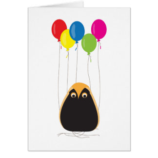 A lucky owl with happy balloons card