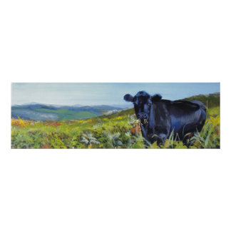 'A lunch interrupted' cow landscape painting Poster