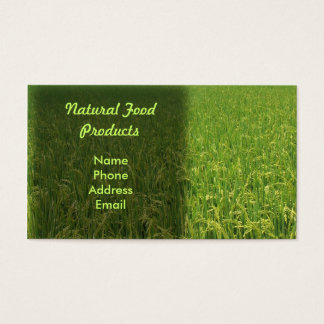 A lush green rice field business card