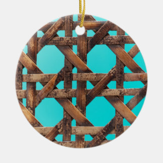 A macro photo of old wooden basketwork. ceramic ornament