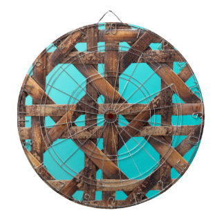 A macro photo of old wooden basketwork. dartboard