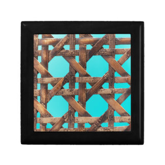 A macro photo of old wooden basketwork. gift box
