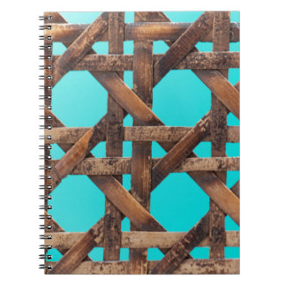 A macro photo of old wooden basketwork. notebooks