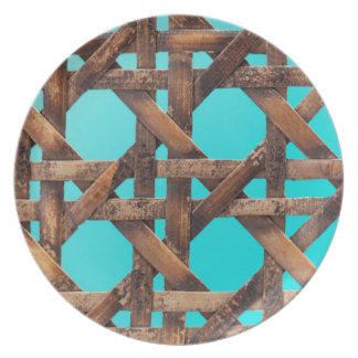 A macro photo of old wooden basketwork. plate