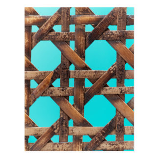 A macro photo of old wooden basketwork. postcard