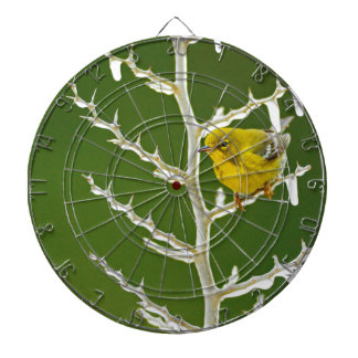 A Male Pine Warbler Perched on an Icy Branch Dartboard