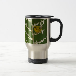 A Male Pine Warbler Perched on an Icy Branch Travel Mug