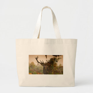 A Male Red Deer Blends in London's Richmond Park. Large Tote Bag