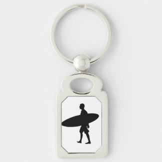 A man and his Board Silver-Colored Rectangle Keychain