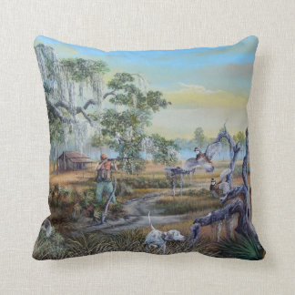 A man and his dog...Southern Style. Throw Pillow