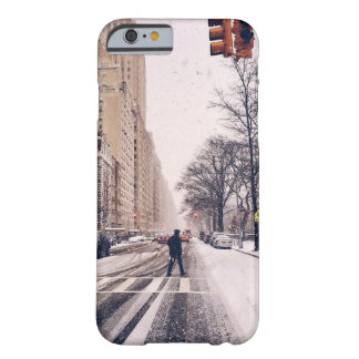 A Man Crossing A Snowy Central Park West Barely There iPhone 6 Case