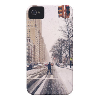A Man Crossing A Snowy Central Park West iPhone 4 Case-Mate Case