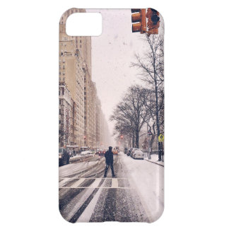A Man Crossing A Snowy Central Park West iPhone 5C Cover