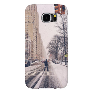 A Man Crossing A Snowy Central Park West Samsung Galaxy S6 Cases
