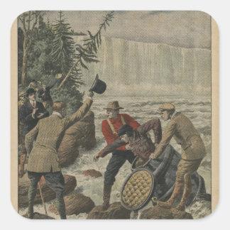 A man in a barrel crossing the Niagara Falls Square Sticker