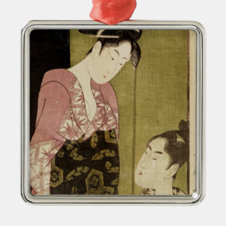 A Man Painting a Woman Silver-Colored Square Ornament
