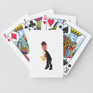 A man playing saxophone bicycle playing cards