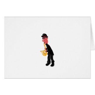 A man playing saxophone card
