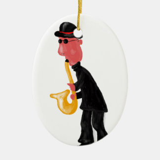 A man playing saxophone ceramic ornament