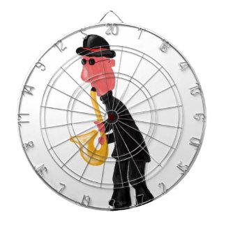 A man playing saxophone dartboard