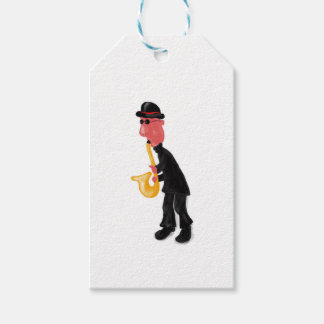 A man playing saxophone gift tags