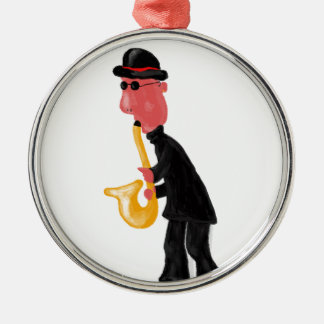 A man playing saxophone metal ornament