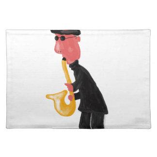 A man playing saxophone placemat