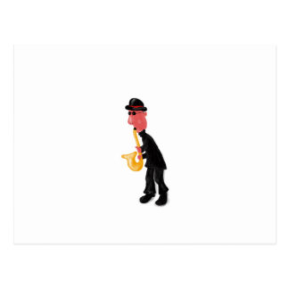 A man playing saxophone postcard