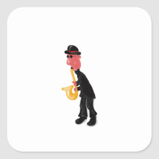 A man playing saxophone square sticker