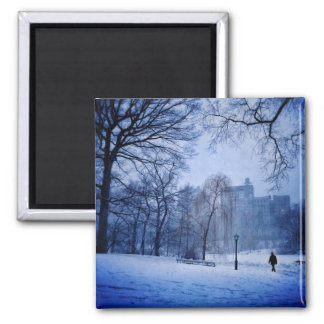 A Man Walking In Central Park On A Winter Evening Square Magnet