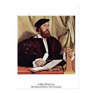 A Man With Lute By Hans Holbein The Younger Postcard