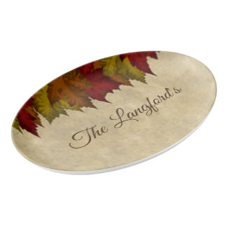 A Maple Leaf Border Porcelain Serving Platter